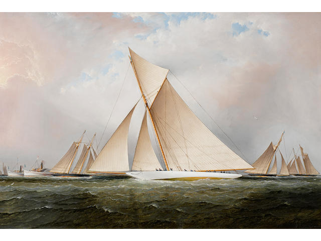 James Edward Buttersworth (British/American, 1817-1894) The America's Cup yacht Vigilant 20 x 30 in. (50.8 x 76.2 cm.)