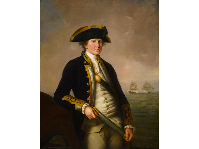 John Francis Rigaud (Turin 1742-1810 Great Packington) Captain Charles Morice Pole 39 3/4 x 50 1/4 in. (100.9 x 127.6 cm.)