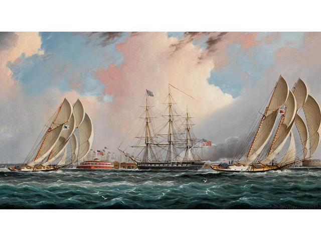 James Edward Buttersworth (British/American, 1817-1894) New York Harbor Regatta 7 x 13 in. (17.7 x 33 cm.)