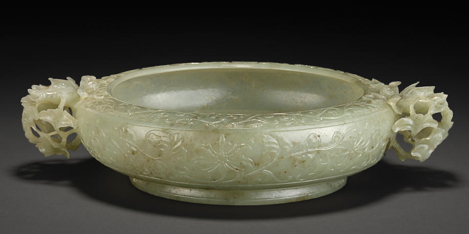 A Mughal style carved jade marriage bowl Qianlong mark