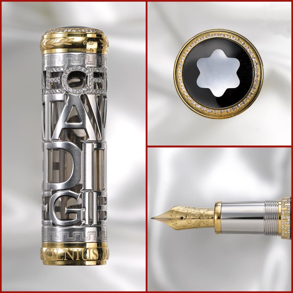 MONTBLANC: Gaius Maecenas 18K Solid White Gold & Diamonds Special Limited Edition 20 Skeleton Fountain Pen *PREMIERE EXAMPLE*