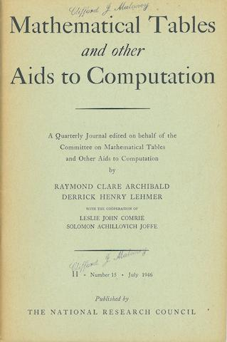 "ENIAC. GOLDSTINE, HERMAN H., and ADELE GOLDSTINE. ""The Electronic Numerical Integrator and Computer (ENIAC)."" IN: Mathematical Tables and other Aids to Computation. Lancaster, PA: National Research Council, July, 1946. Vol 2, no 15."