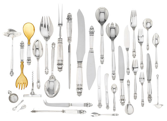 A Danish  830 standard silver  flatware service for twelve  by Georg Jensen Silversmithy, Copenhagen, most 1930, some serving pieces later