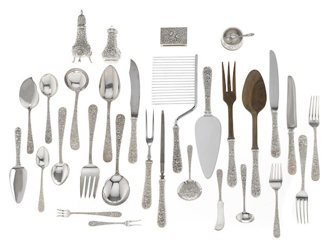 An assembled American  sterling silver part flatware service for twelve by S. Kirk & Son, Baltimore, MD,  20th century