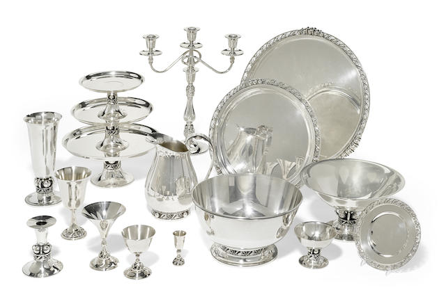 An extensive American  sterling silver  Modernist table suite designed by Alphonse LaPaglia for International Silver Co., Meriden, CT, mid-20th century