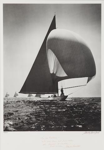Morris Rosenfeld (American, 1885-1968)  Off the Wind, America's Cup J-boats, 1937 24-1/4 x 16-3/4 in. (61.5 x 42.5 cm.), image; 31-1/4 x 24 in. (79.3 x 60.9 cm.), framed.