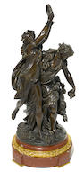 A French patinated bronze figural group after a model by Clodion late 19th century