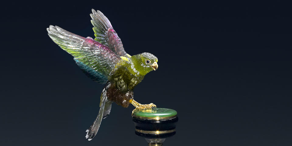 Impressive Museum-Quality Multi-color Tourmaline Carving of a Fan-Tail Falcon