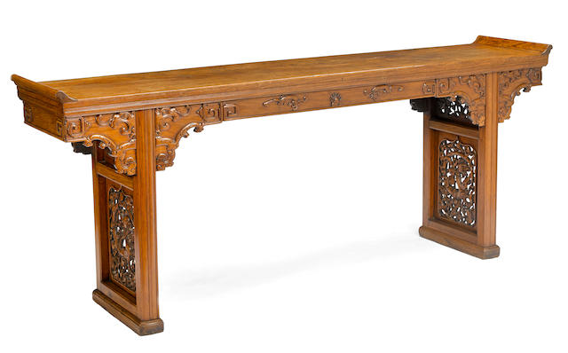 A huanghuali and huanghuali veneered altar table  Top panel 18th century