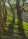 Paul A. Grimm (American, 1891-1974) Trees along a ridge 12 x 9in