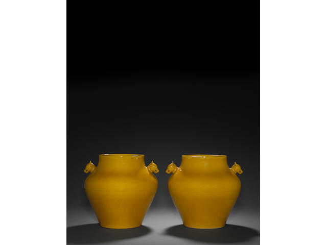 A pair of yellow glazed covered jars Qianlong marks, Guangxu period