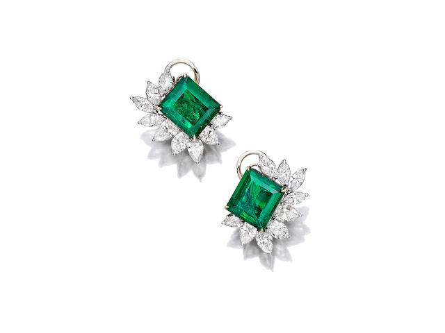 A pair of emerald and diamond earclips