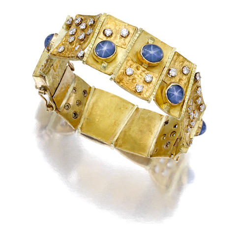 A star sapphire, diamond and eighteen karat gold bracelet, Mary Kretsinger