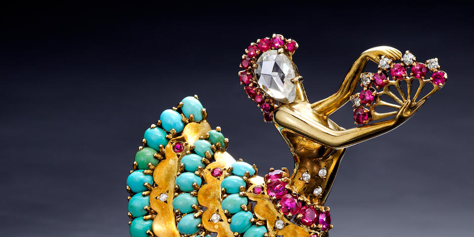 """A diamond, ruby, and turquoise """"Clip Danseuse"""" brooch, Van Cleef & Arpels,"""