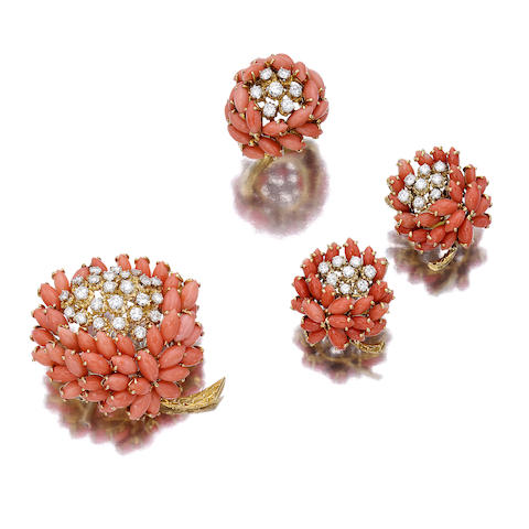 A suite of coral and diamond jewelry, Van Cleef & Arpels,