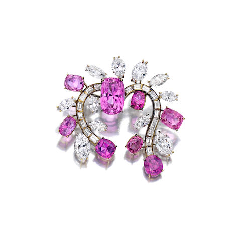A pink sapphire and diamond brooch, Ruser