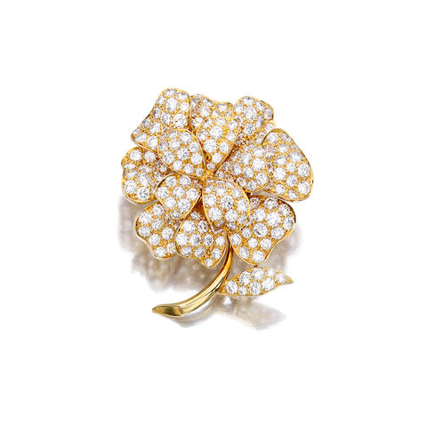 A diamond and eighteen karat gold brooch, Van Cleef & Arpels