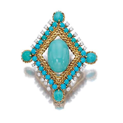 An eighteen karat gold, turquoise and diamond pendant brooch, Van Cleef & Arpels