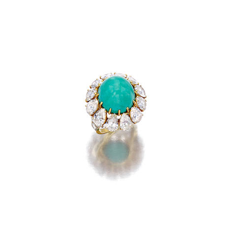 A turquoise and diamond ring, Ruser