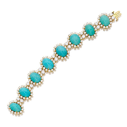 A turquoise and diamond bracelet, Ruser