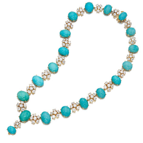A turquoise and diamond necklace