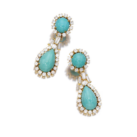 A pair of turquoise and diamond pendant earrings,
