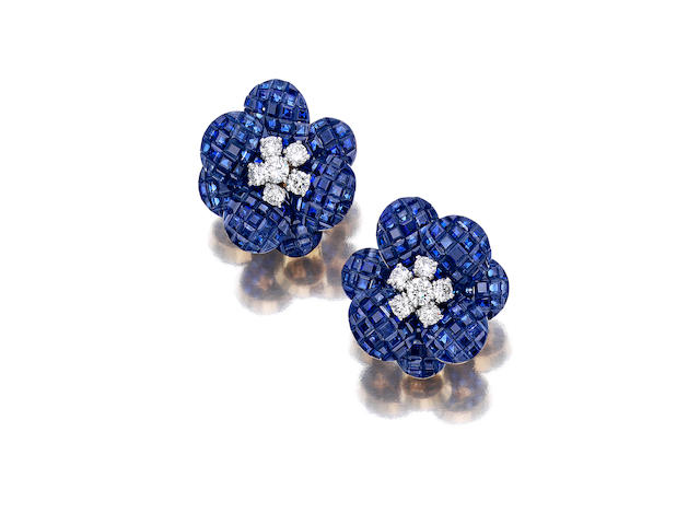 A pair of 'Mystery-Set' sapphire and diamond earclips, Van Cleef & Arpels