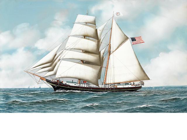 Antonio Nicolo Gasparo Jacobsen (American, 1850-1921) The hermaphrodite brig Cameo at sea 22 x 36 in. (55.8 x 91.4 cm.)