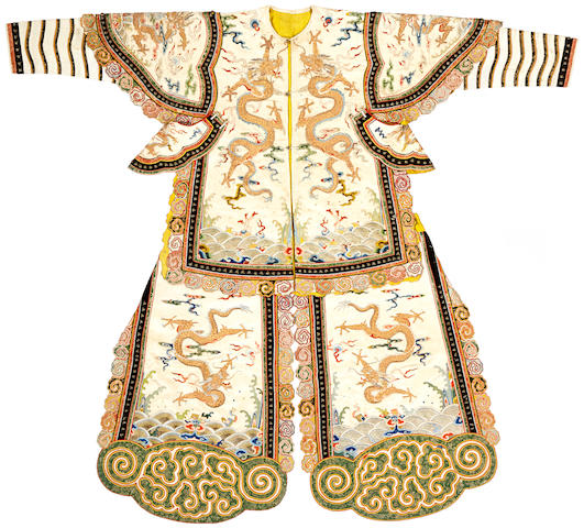 A rare embroidered silk partial theatrical costume for a warrior 19th century