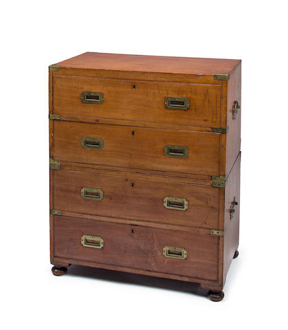 A teak and brass bound campaign chest late 19th or early 20th centuries 35-1/2 x 30 x 17-3/4 in. (90.1 x 76.2 x 45 cm.)
