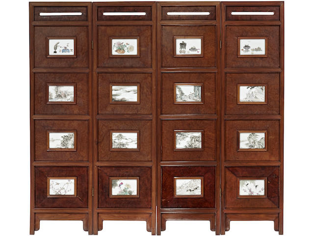 A four-panel hardwood screen inlaid with porcelain plaques Republic period