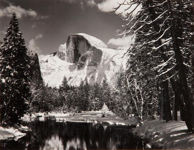 Ansel Adams (American, 1902-1984); Half Dome, Merced River, Winter;