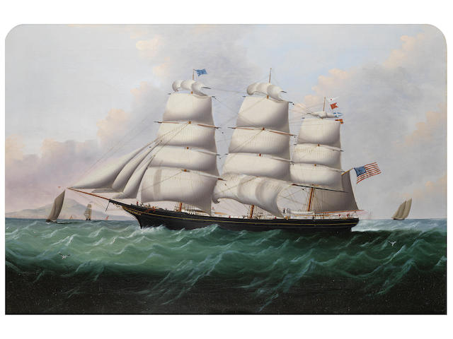Attributed to William Howard Yorke (American, 1847-1921) A three masted American clipper 24 x 36 in. (61 x 91.5 cm.)