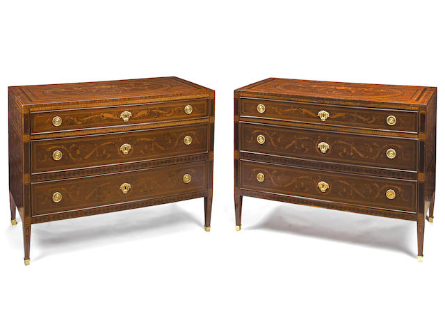 A pair of North Italian Neoclassical gilt bronze mounted marquetry commodes in the manner of Giuseppe Maggiolini late 18th century