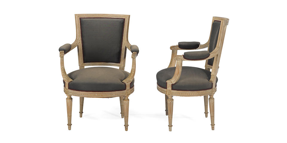A pair of Louis XVI style painted beechwood fauteuils à la reine  20th century