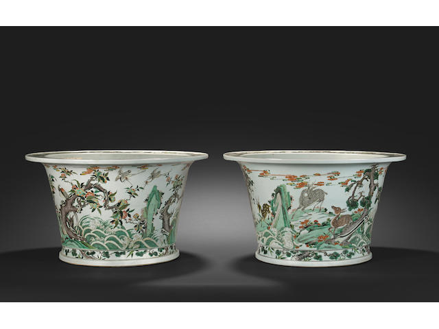 Two rare large wucai enameled jardinières Kangxi six-character marks and of the period