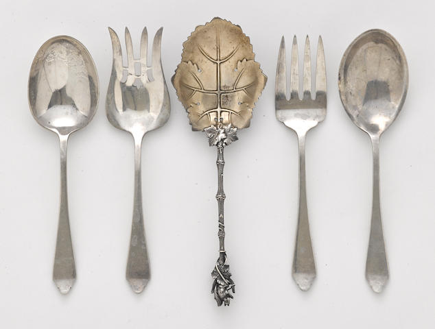 An assembled group of five American sterling silver  serving flatware pieces  by Dominick & Haff, New York, NY and Gorham Mfg. Co., Providence, RI,  second half 19th-early 20th century