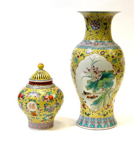 Two Chinese famille jaune enameled vases