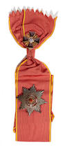 Russia, Order of St. AnneFirst Class set of insignia comprising sash badge and breast star by in silver-gilt and enamel