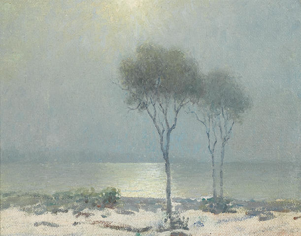 Granville Redmond (American, 1871-1935) Moonlit shore with eucalyptus 11 x 14in