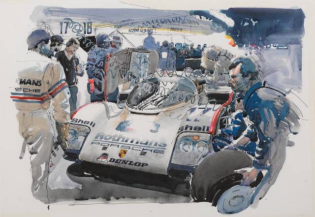 A watercolor depicting the Rothmans Porsche Group C team in the pits, 40¾ x 30¾ ins.
