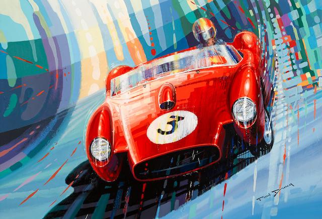 """Paul Bracq: """"Ferrari 250 TR,"""" 47½ x 33¾ ins."""