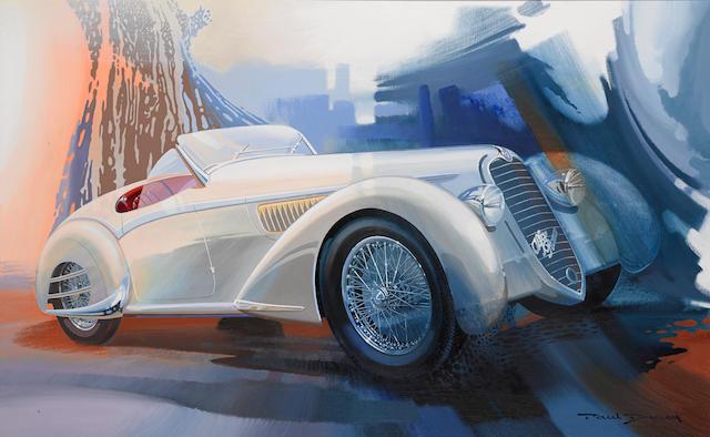 Paul Bracq: 1938 Alfa Romeo 8C 2900B Touring Spider, 1995, 46¾ x 29¾ ins.