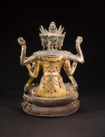 A large and very rare gilt lacquered bronze figure of Guanyin Late Ming dynasty