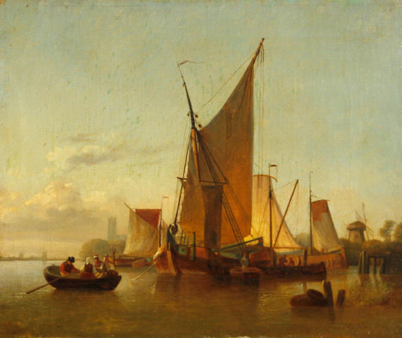 Dutch School, 19th Century Fishing boats in a harbour 13 1/2 x 16 1/2in