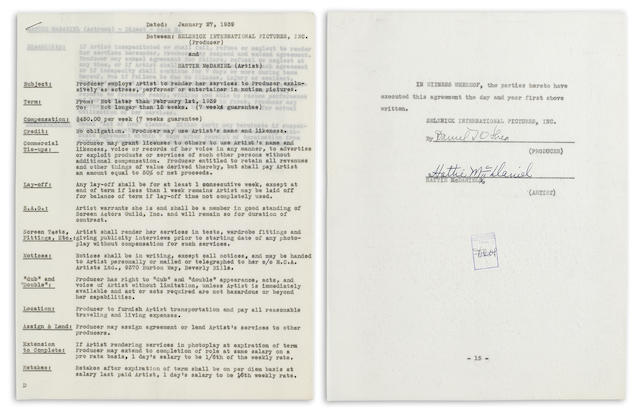 A Hattie McDaniel signed contract for Gone With The Wind
