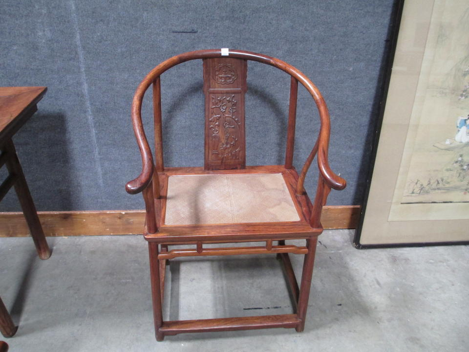 A pair of huanghuali horseshoe back chairs 17th/18th century