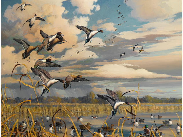 Harry Curieux Adamson (American, born 1916) Ducks flighting off a marsh 24 x 36in