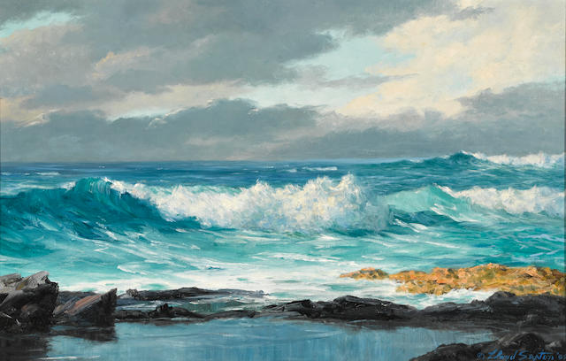 Lloyd Sexton, Jr. (American, 1912-1990) Waves breaking on the shore 15 x 23 1/4in overall: 20 1/2 x 29in