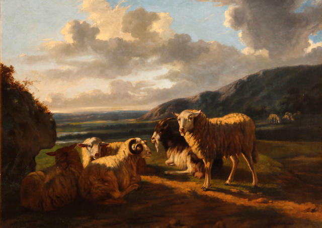 Dutch School Sheep grazing in a pasture 25 1/4 x 35in